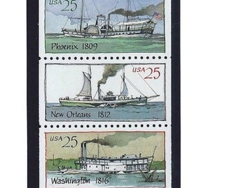 USPS Vintage Stamps Mint Steamboats 25 cents, Experiment Phoenix New Orleans Washington Walk in the Water, Issued 1989, Collecting
