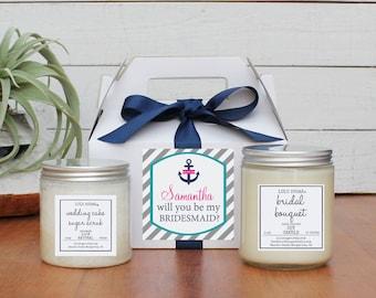 Bridesmaid Gift Set | Maid of Honor Gift Set -  Nautical Label -  Personalized Bridesmaid Gift | Candle and Sugar Scrub Set