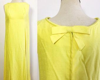 Vintage Yellow Linen Maxi Dress / Lot of 2 Matching Dresses / Twin Dresses / Bright Yellow Maxi Dress / 70s Bridesmaid Dresses / Lot of 2