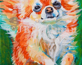 """Longhaired Chihuahua - 8x10"""" Print of original acrylic pet portrait painting"""