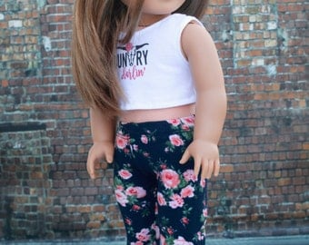 """18"""" Doll Clothes   Navy Blue Pink Floral Full Length Knit LEGGINGS   PANTS for 18 Inch Doll such as American Girl Doll"""