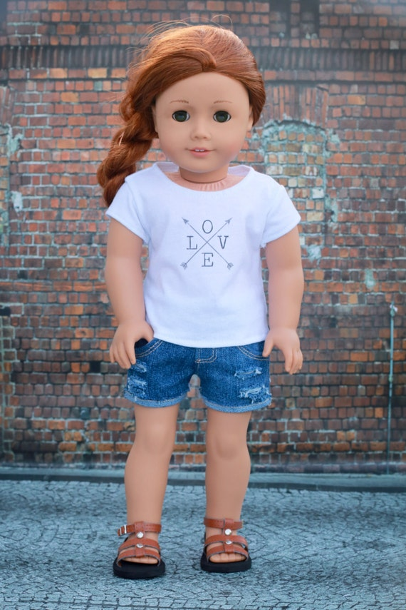 18 Inch Doll Clothes | Trendy Love with Arrows Graphic White Short Sleeve TEE for 18 Inch Doll such as American Girl Doll