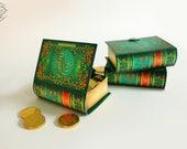 Printable DIY Mini Book Box   Paper Gift Box / Favor Box   Antique Green Floral Design   Papercraft A4 /letter pdf template digital download