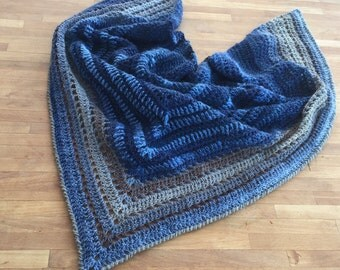 Ladies hand made triangular scarf - wool crochet