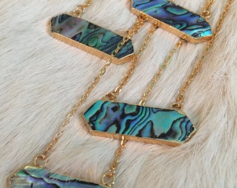 Abalone Shell Necklace Abalone Shell Connector Necklace Abalone Shell Jewelry Necklace Boho Bohemian Tribal Abalone necklace Abalone Shell