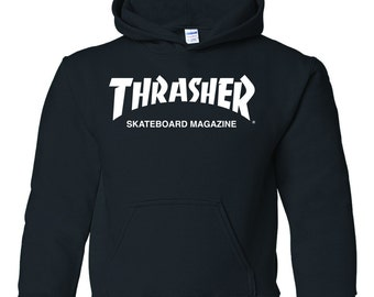 Thrasher sweatshirt sweater hoodie pullover clothing skateboard magazine swag 80s
