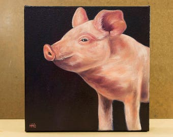 Pig Painting, Original Oil Painting, Farm Decor
