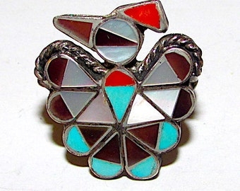 Old Pawn Native American Zuni Thunderbird Turquoise Coral MOP Inlay Ring Size 7