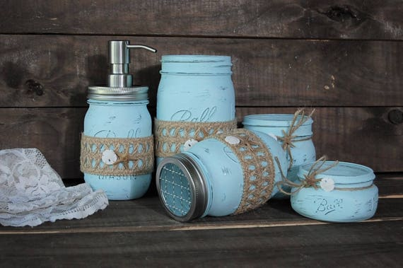 coastal bath decor mason jar bathroom set blue beach