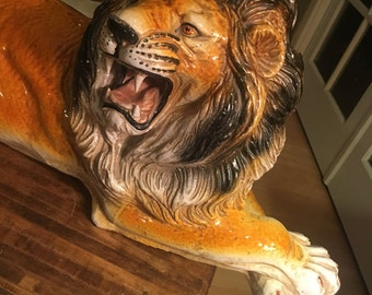 Awesome Vintage Mid Century Ceramic Terracotta Italian Lion