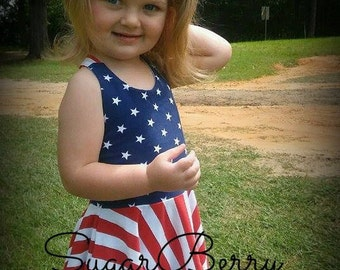 Girls July 4th dress and knotted headband, Patriotic sundress, Memorial day dress, 4th sundress, stars and stripes dress, Independence day
