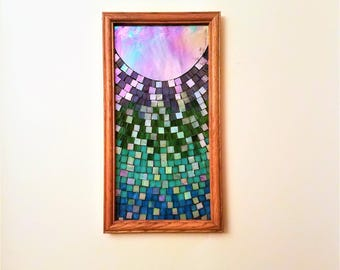 Abstract Peacock Colored Ombre Stained Glass Mosaic Picture, Colorful Glass Art, Abstract Glass Art, Homeowner Gift, One of a Kind Mosaic