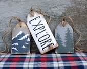 Explore Mountain Wood Tags Rustic & Distressed Cabin Sign Set The Mountains are Calling
