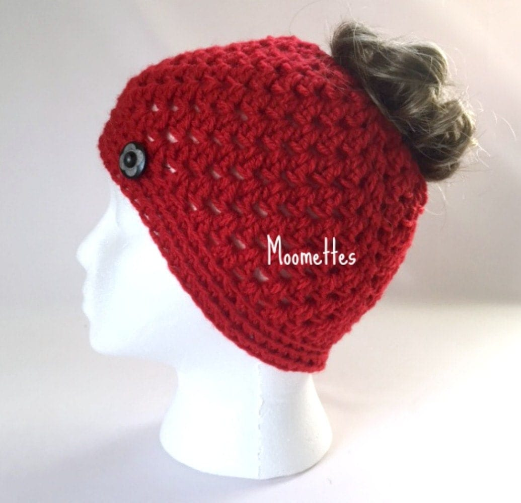 Crochet Handmade Messy Bun Hat Bright Red by MoomettesCrochet