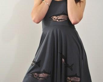 Dress With Pockets, Sweetheart Neckline, Fish Print Dress, Dark Grey Dress, Tomboy Dress, Bamboo Dress, High Low Skirt, Cute Dress