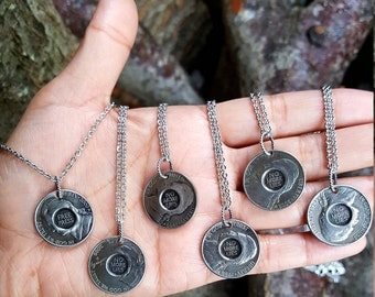 Nickel necklace, no more lies, necklace, silver necklace, money jewelry, money necklace