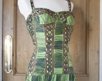 1950s Tiki Swimsuit / Bathing Suit - Green Brown Size M By Tricotbest