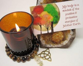 Grounding Manifesting Kit - Candle, Bracelet, Affirmation Cards, Grounding Spell