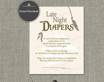 "Printable  ""Late Night Diapers"" Baby Shower Activity 