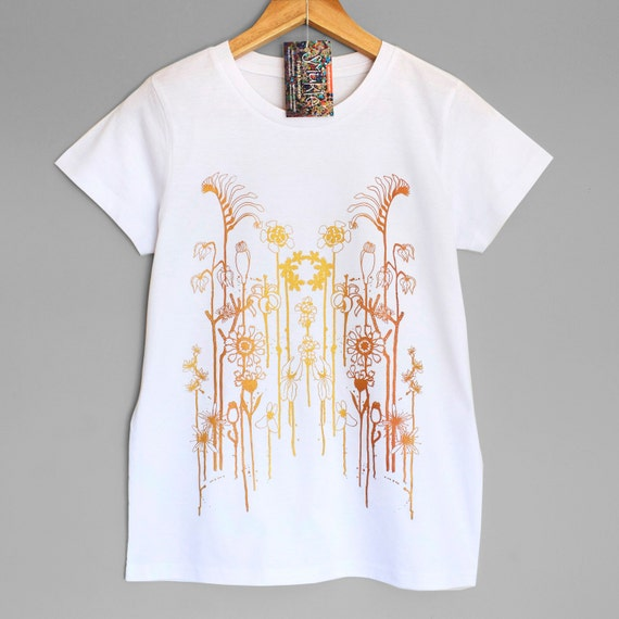 WILD FLOWERS . White womens t-shirt with iridescent gold copper print. Australian wildflowers. Womens top with flowers