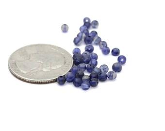Genuine Round Polished Iolite Gemstones 4mm 12pcs
