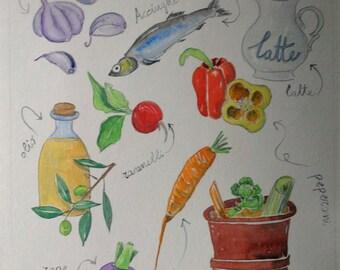 Tavola illustrata ricetta cucina