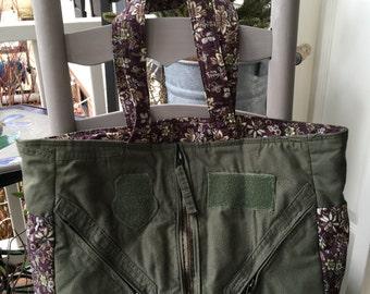 Flightsuit Shoulder Diaper Bag- Purple floral print