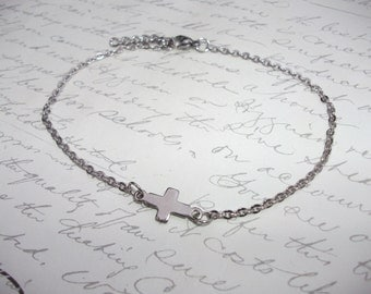 Sideway cross stainless steel anklet or bracelet