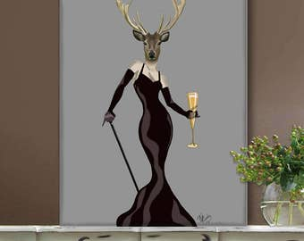 Wall Art Large Wall Art Canvas Print  - Glamour Deer in Black - deer art decor Deer print art Deer canvas print Deer canvas art Deer decor
