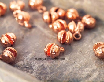 20 Copper 7mm Indian Dancing Bell Charms - Open (SB281)