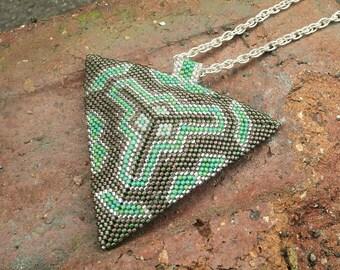 Beaded Triangle Pendant, Purple Triangle Necklace, Peyote Triangle, Beaded Tribal Necklace, Geometric Necklace, Tribal Jewelry, Statement,