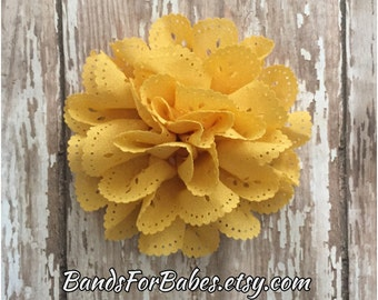 Golden Yellow Eyelet Flower Hair Clip, Toddler Flower Accessory, Girls Hair Piece, Mustard Bow, Alligator Clip, Barrette, Flower Girl Clip