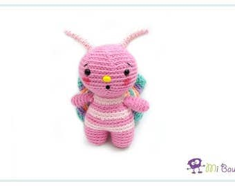 Crochet Pink Butterfly Bug Amigurumi Animal Insect Stuffed Toy - READY TO SHIP