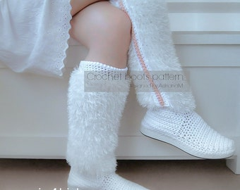Crochet pattern: furry boots on rubber soles,street crochet boots,mukluks,fancy boots,adult sizes,women,girl,outdoor,shoemaking,eyelash yarn