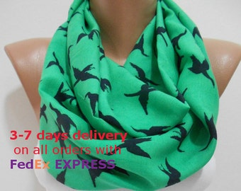 SALE Bird Scarf Infinity Scarf Animal Scarf Green Scarf Loop Women Fashion Accessories Birthday  Christmas Gift For Her For Women For Mom