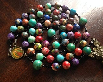 D-Rainbow Gemstone Rosary/Guadalupe/Turquoise Pater Noster