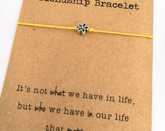 FLOWER Friendship Bracelet ~ Silver Flower bead on Waxed Cotton Cord ~ It's not what we have in life ... ~ Adjustable ~ Color Choice