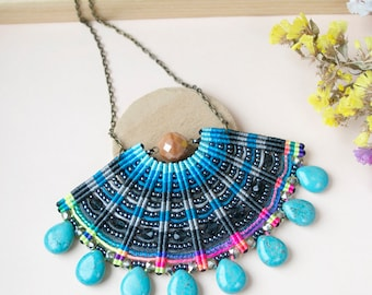 Macrame necklace, statement necklace, bib necklace, colorful necklace, beaded fan, micro-macrame jewelry, howlite necklace, glamour necklace
