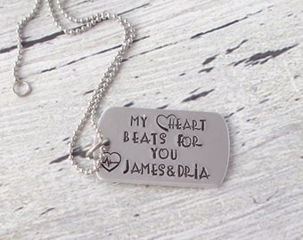 Personalized Couples Necklace,My Heart Beats For You