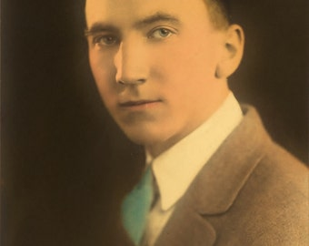 Vintage hand colored Photo  ~  Handsome College Boy