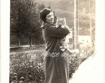 Her baby ~ Vintage Snapshot Photo ~ pet cat