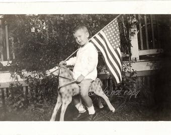Patriotic rocking horse boy ~ Antique Snapshot Photo ~ American Flag