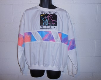 Vintage 80s 90s Country 105 WLOV Neon Pullover Long Sleeve Shirt XL XXL