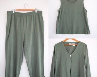 Green Pear Three Piece Raw Silk Suit