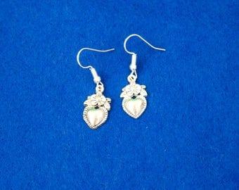 Love heart flowers charm earrings silvery girlfriend present