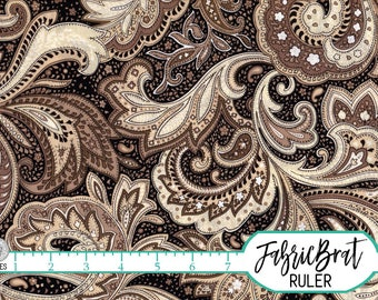PERUGINA PAISLEY Fabric by the Yard, Fat Quarter Black & Tan Fabric 100% Cotton Fabric Paisley Quilting Fabric Material Apparel Fabric t1-36