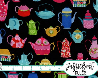 CUTE TEAPOTS Fabric by the Yard, Fat Quarter Tea pots Fabric Tea cup Fabric 100% Cotton Fabric Quilting Fabric Apparel Fabric Yardage t3-40