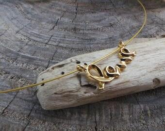 Love necklace. Gold love necklace. Cursive script love necklace. Love charm necklace.Floating necklace.Illusion necklace. Dainty necklace.