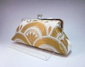 Gold clutch/ Seikaiha wave /Vintage kimono bag/hand made/18