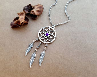 Dreamcatcher Necklace, layering necklace, Dream catcher Necklace, Boho Necklace, Feather Necklace, Tribal Jewelry, Dream Necklace, boho gift